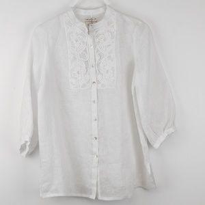 MSSP White Linen Blouse NWT Medium